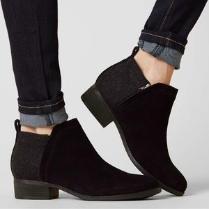 Toms Deia Black Leather Ankle Boot